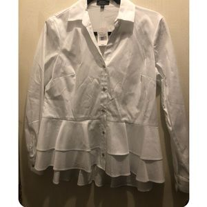 The Limited Collection White Ruffle Blouse